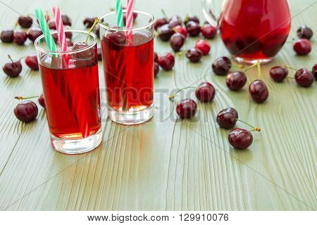 Left 2 glasses of juice, green straws, scattered cherries, jar of cherry juice, on right empty space for text on green background. Cherries, cherry juice and empty space. Horizontal.