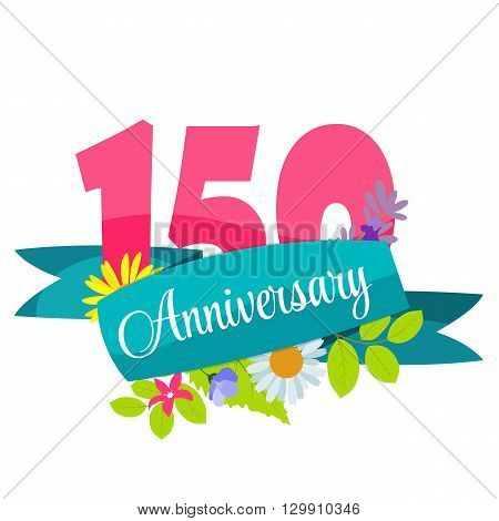 Cute Template 150 Years Anniversary Sign Vector Illustration EPS10