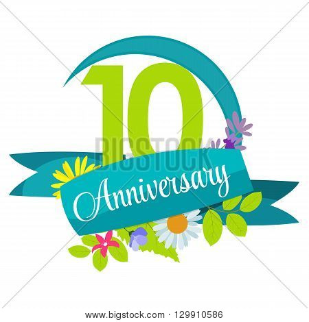 Cute Nature Flower Template 10 Years Anniversary Sign Vector Illustration EPS10