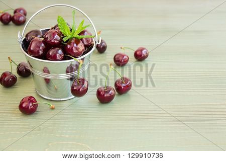 In the frame on the left a small bucket with cherries, around scatterd cherries, on the right empty space on a light green background. Bucket of cherries with mint leaves. Horizontal. Daylight.