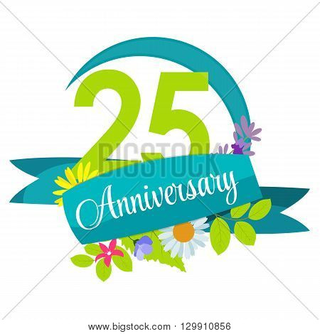 Cute Nature Flower Template 25 Years Anniversary Sign Vector Illustration EPS10