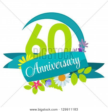 Cute Nature Flower Template 60 Years Anniversary Sign Vector Illustration EPS10