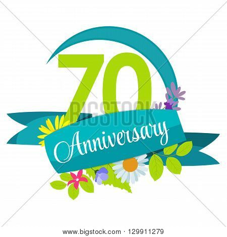 Cute Nature Flower Template 70 Years Anniversary Sign Vector Illustration EPS10