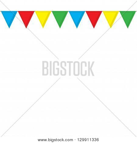 Garland of colored flags. Festive flags for decoration. Garland of flags on a white background.Vector illustration.