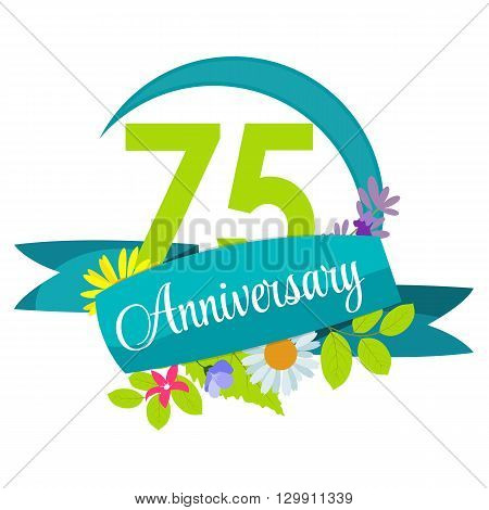 Cute Nature Flower Template 75 Years Anniversary Sign Vector Illustration EPS10