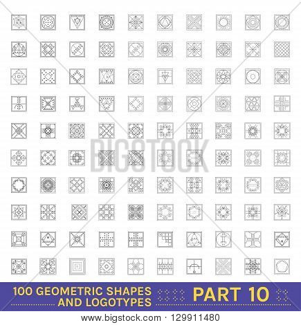 Big Set of 100 minimal geometric monochrome shapes. Business signs, labels, trendy hipster icons and logotypes.