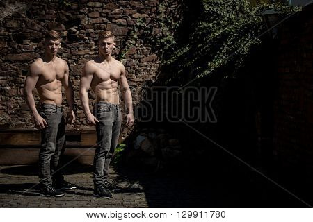 Bare-chested Twin Bodybuilders