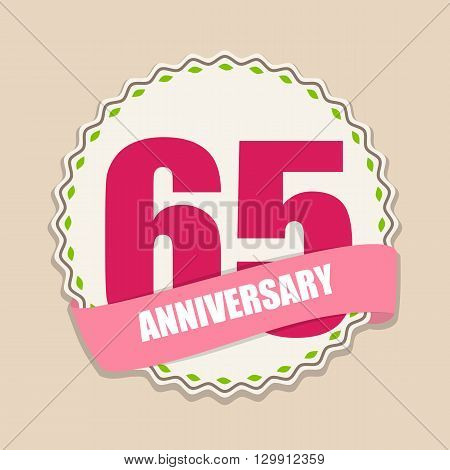 Cute Template 65 Years Anniversary Sign Vector Illustration EPS10