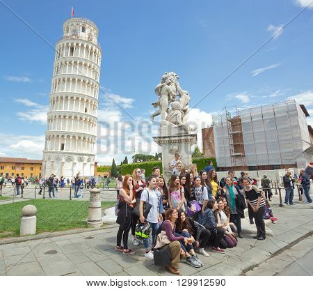 Group Of Students On Educational Trip In Pisa
