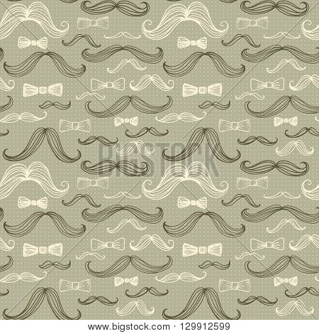 Bow Tie and Moustache Seamless Pattern. Vector illustration EPS10
