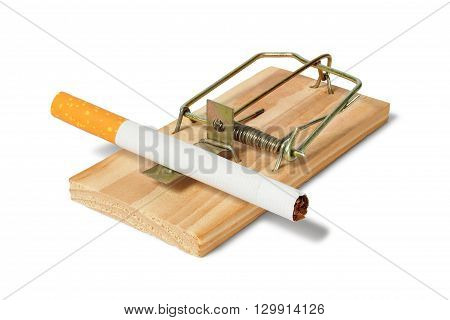 Mousetrap with unused cigarette on white background