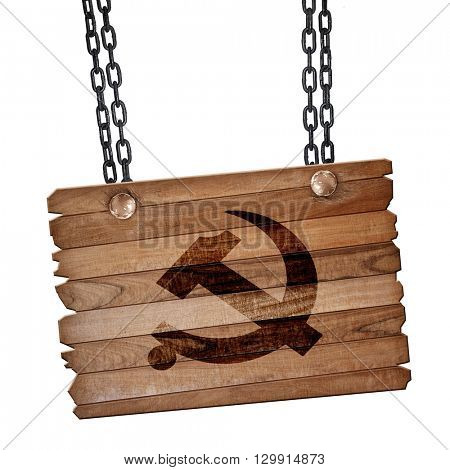 Communist sign with red and yellow colors, 3D rendering, wooden