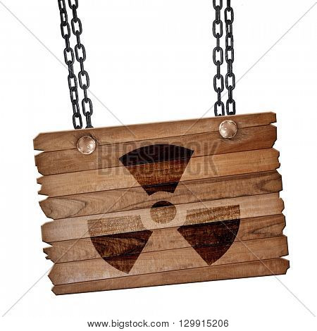Nuclear danger background, 3D rendering, wooden board on a grung