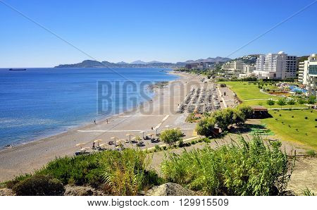 View of Faliraki bay and its excellent beach, Rhodes island