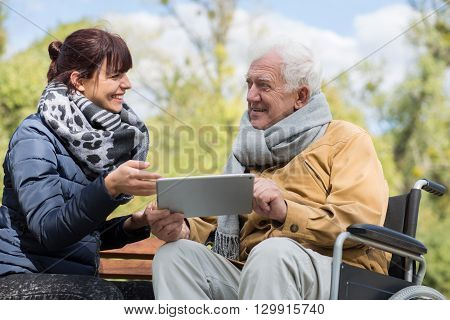Senior Man Using Tablet