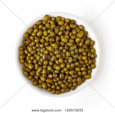 Bowl Of Mung Bean Isolated On White, From Above