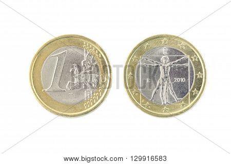 One Euro Coin Closeup On White Background