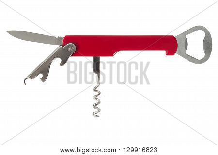Open waiter's corkscrew isolated on white background