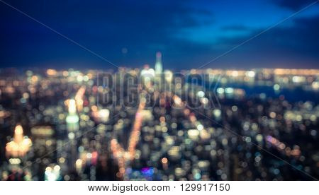 Blurred city concept from aerial view. New york aerial view