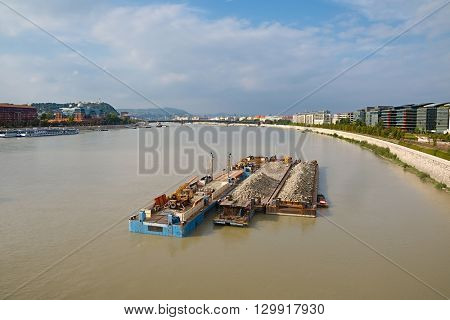 Cargo transportation on the river Danube