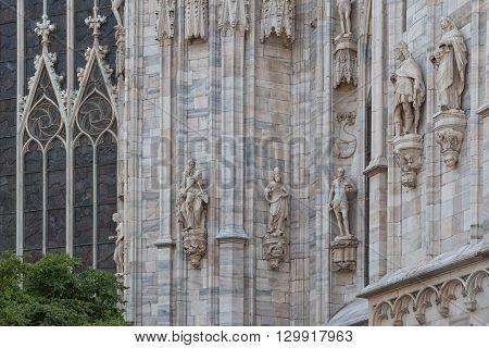 Milan, Italy - Circa August 2013: Architectural details of Duomo di Milano church.