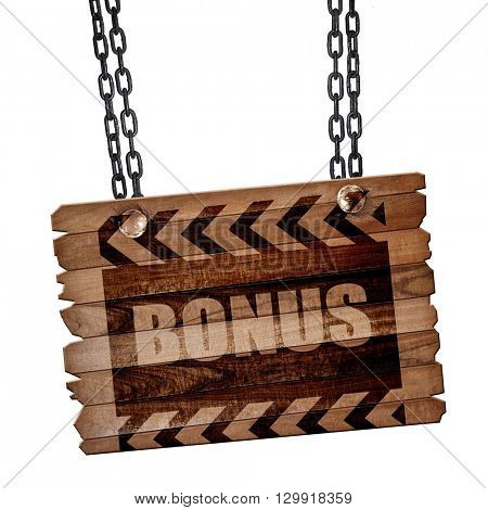 Bonus sign with smooth lines, 3D rendering, wooden board on a gr