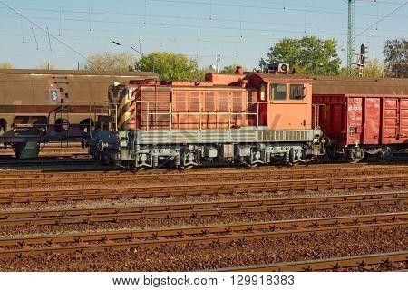 Freight train at a terminal