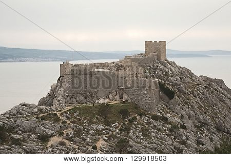 Fort on a cliff in Omis, Croatia
