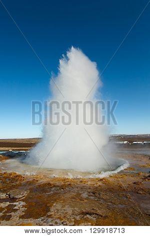Erupting geyser in Iceland, Strokkur