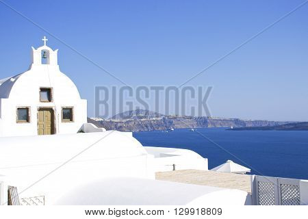 Typical island Santorini church, white and blue