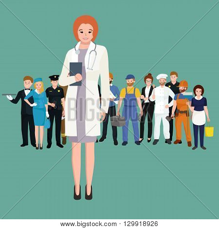Woman doctor in white lab coat, researcher with folder vector illustration
