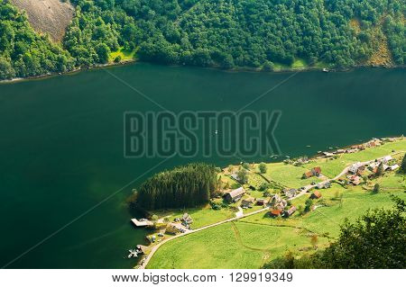 Small Picturesque Village Near Sognefjord Fjord In Norway. Amazing Nature Of The Norwegian Mountains. Beautiful Landscape. Travel Concept. Scenic View From Mountain Top.