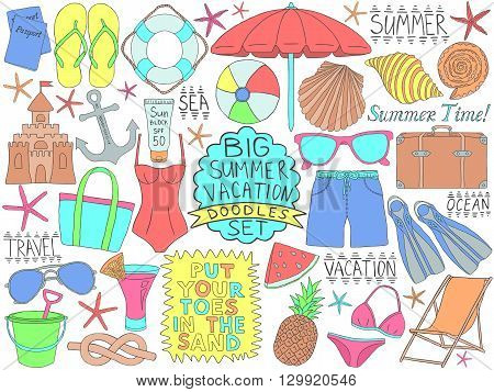 Doodles summer vacation set. Ocean and sea trip doodles. Big collection of summer time tourism sketches. Pencil effect simple travel doodles. Set of summer beach rest objects. Tropical resort items.