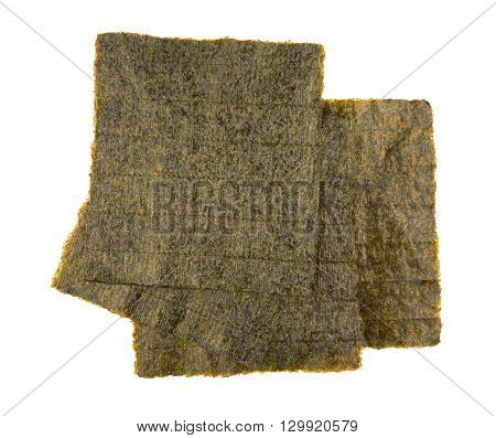 Sheet of dried nori seaweed isolated on white background
