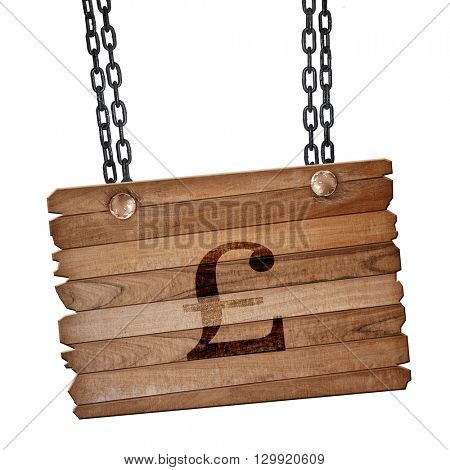 pound sign, 3D rendering, wooden board on a grunge chain