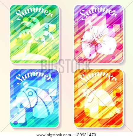 Four brightly colored summer themed layouts with abstract patterns and transparencies. Graphics are grouped and in several layers for easy editing. The file can be scaled to any size.