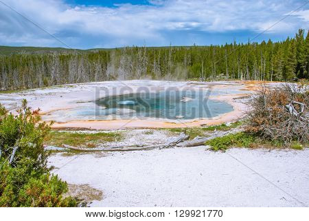 Solitary Geyser preparing to eruption Upper Geyser Basin Yellowstone National Park