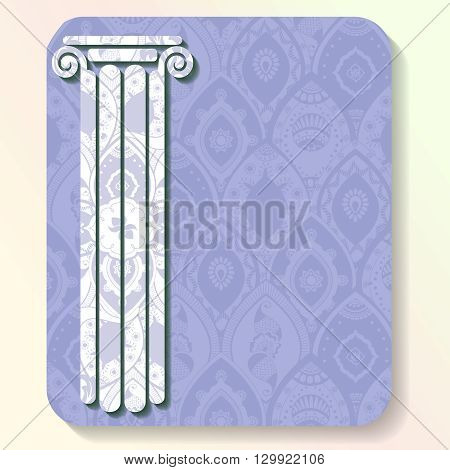 Vacation illustration of a greek column silhouette filled with very intricate patterns. Graphics are grouped and in several layers for easy editing. The file can be scaled to any size.