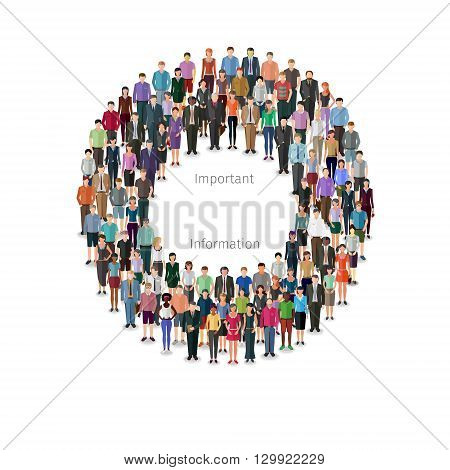 round frame build of many casual people, modern design conceptual illustration
