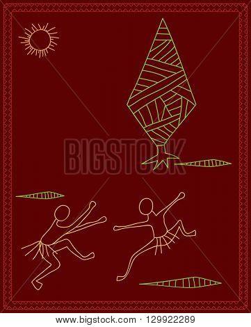 Folk Dancers Tribal Design, Motif, Wall Painting Vector Illustration
