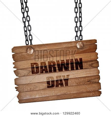 darwin day, 3D rendering, wooden board on a grunge chain