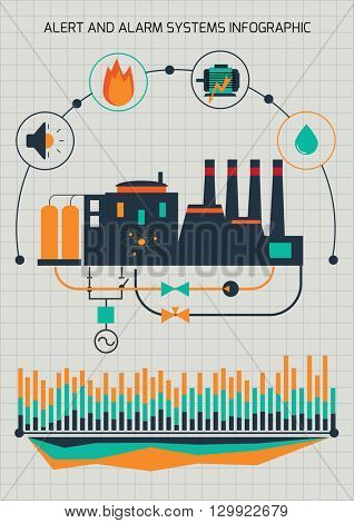 Infographic template. Power station. Automatic system monitoring and control.