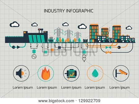 Infographic template.  The power supply of town by hydroelectric power station.