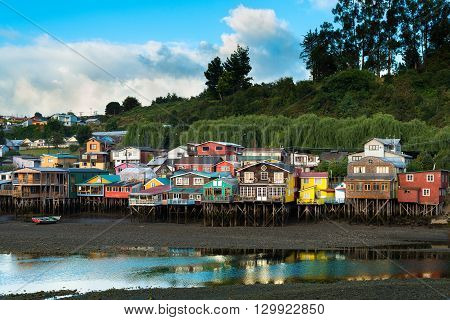 Traditional stilts houses known as palafitos in Castro Chiloe island Chile