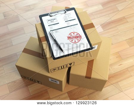 Box, pen, clipboard with receiving form and stamp delivered isolated on white.  Delivery concept. 3d illustration