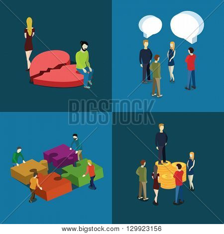 People relations and business concept.  Set of the flat isometric vector illustration.