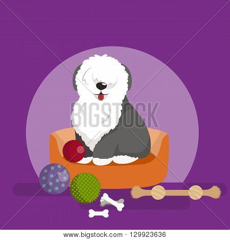 vector cute pet bed, place for sleeping dog isolated vector illustration
