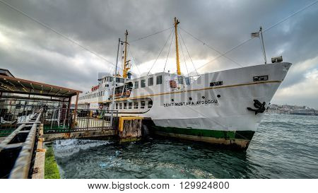 Istanbul, Turkey - May 8, 2015: Passenger ferry in Istanbul at the docks
