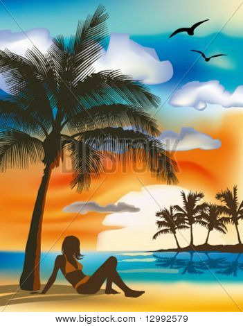 Girl under the palm. High detailed vector illustration.