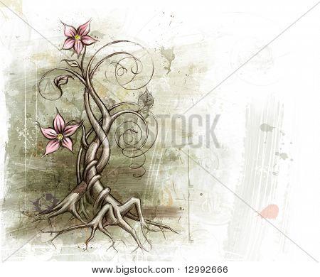 Grunge floral background. See similar images in my portfolio.
